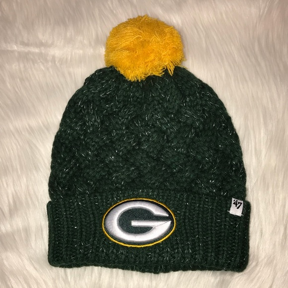 Womens Green Bay NFL Logo Glitter Sock Hat New 399aedee9